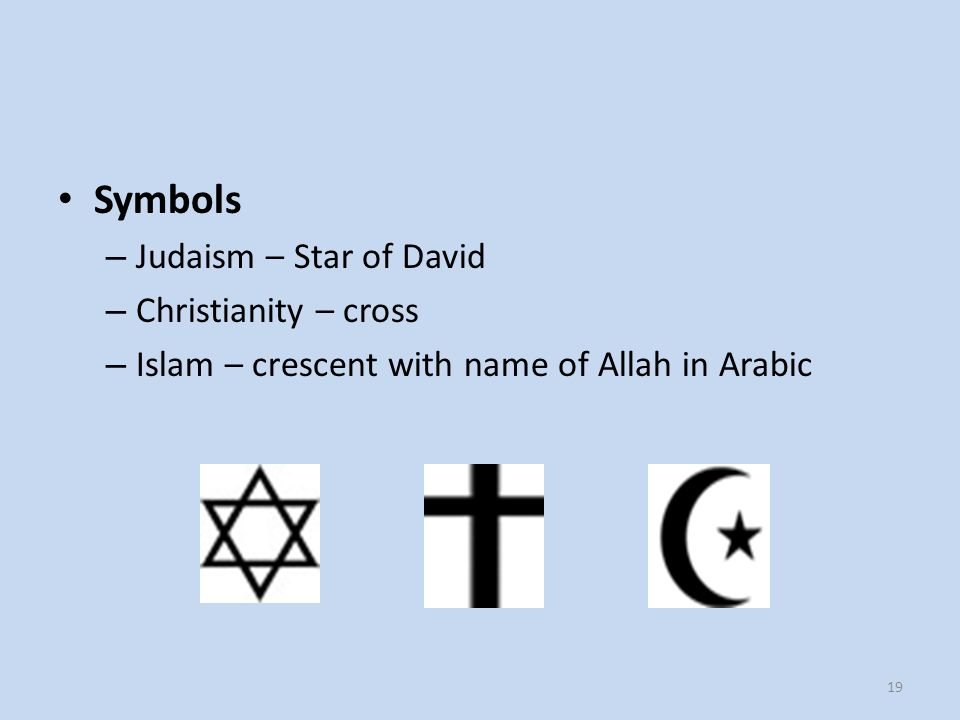 Symbols Judaism – Star of David Christianity – cross