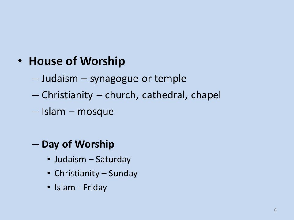 House of Worship Judaism – synagogue or temple