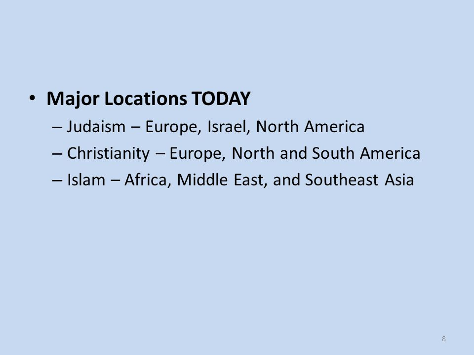 Major Locations TODAY Judaism – Europe, Israel, North America