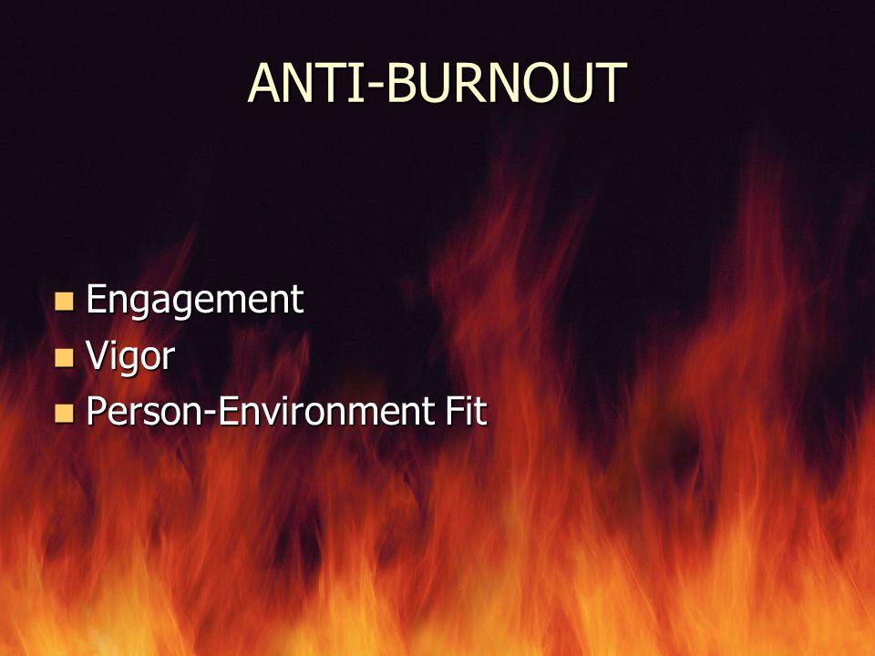 ANTI-BURNOUT Engagement Vigor Person-Environment Fit