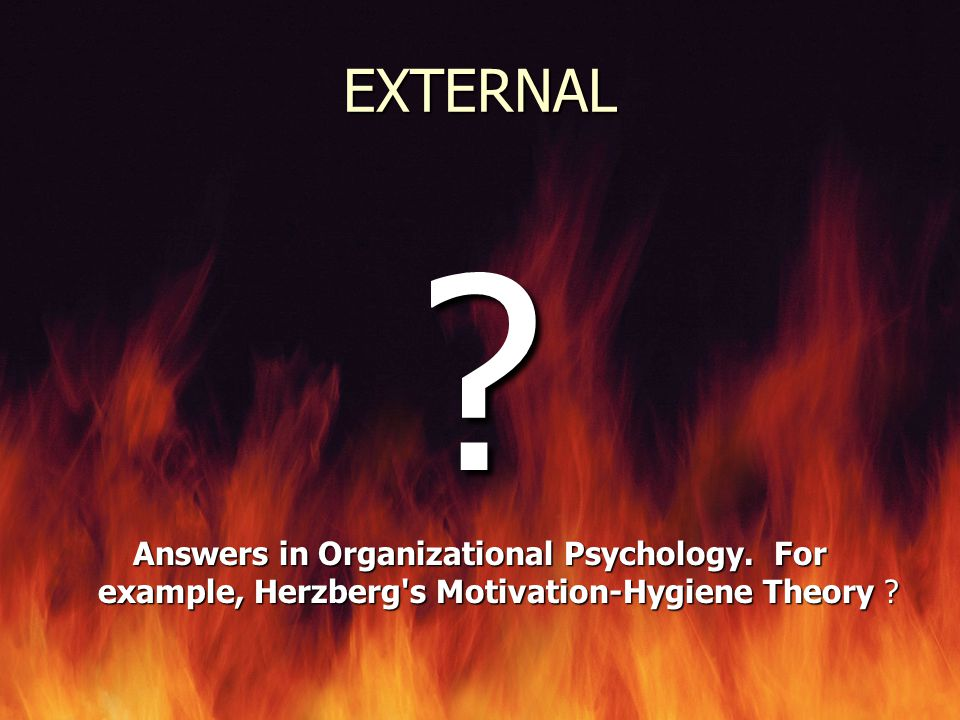 EXTERNAL . Answers in Organizational Psychology.