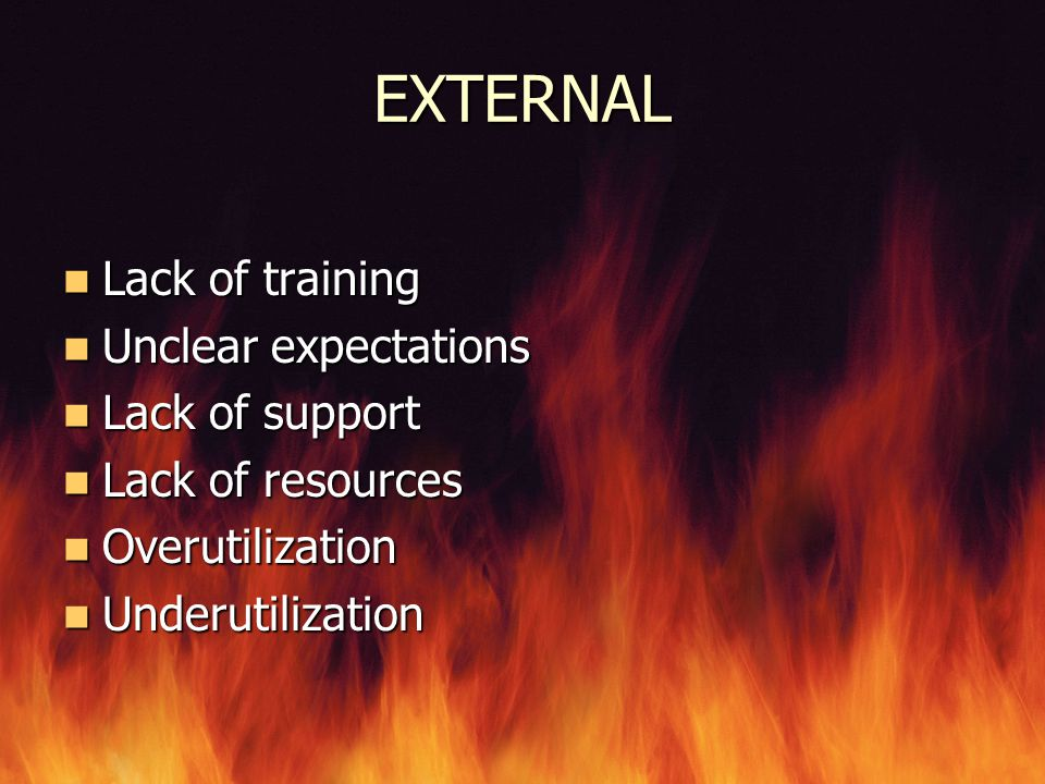 EXTERNAL Lack of training Unclear expectations Lack of support