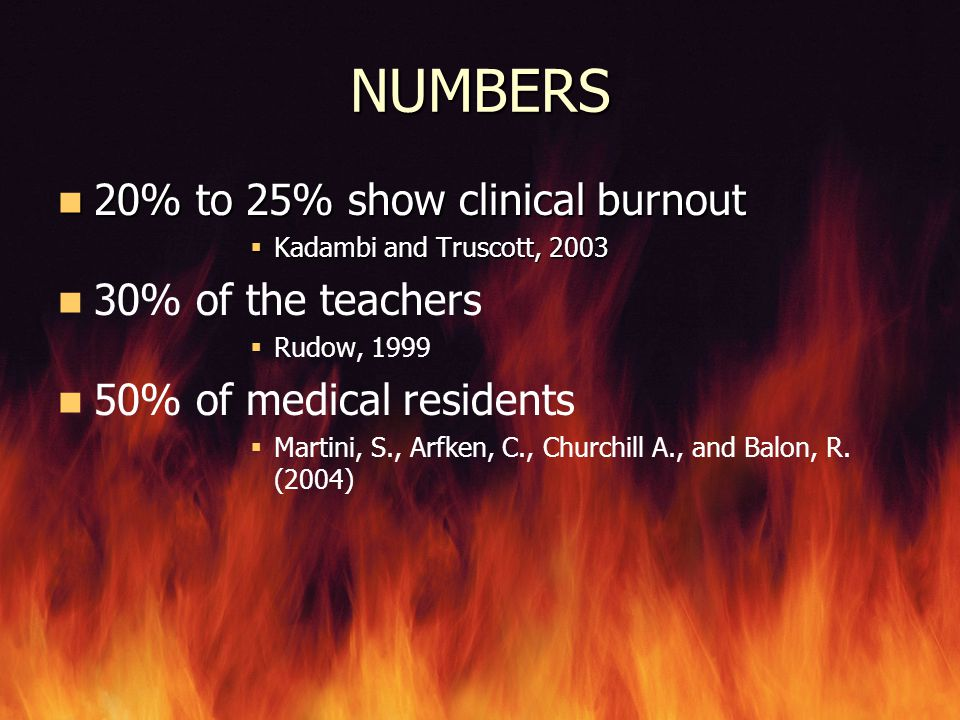 NUMBERS 20% to 25% show clinical burnout 30% of the teachers