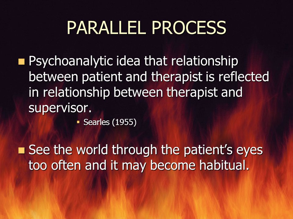 PARALLEL PROCESS Psychoanalytic idea that relationship between patient and therapist is reflected in relationship between therapist and supervisor.