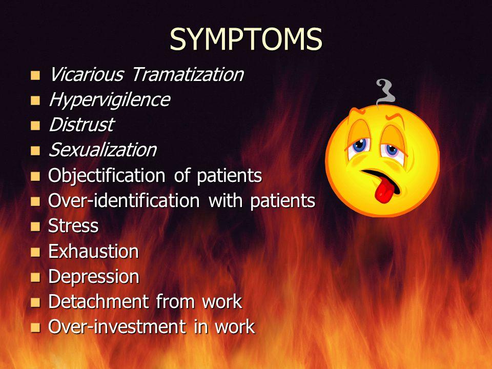 SYMPTOMS Vicarious Tramatization Hypervigilence Distrust Sexualization