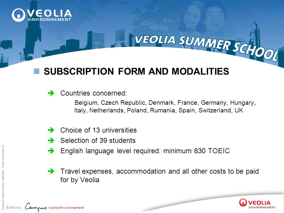 SUBSCRIPTION FORM AND MODALITIES