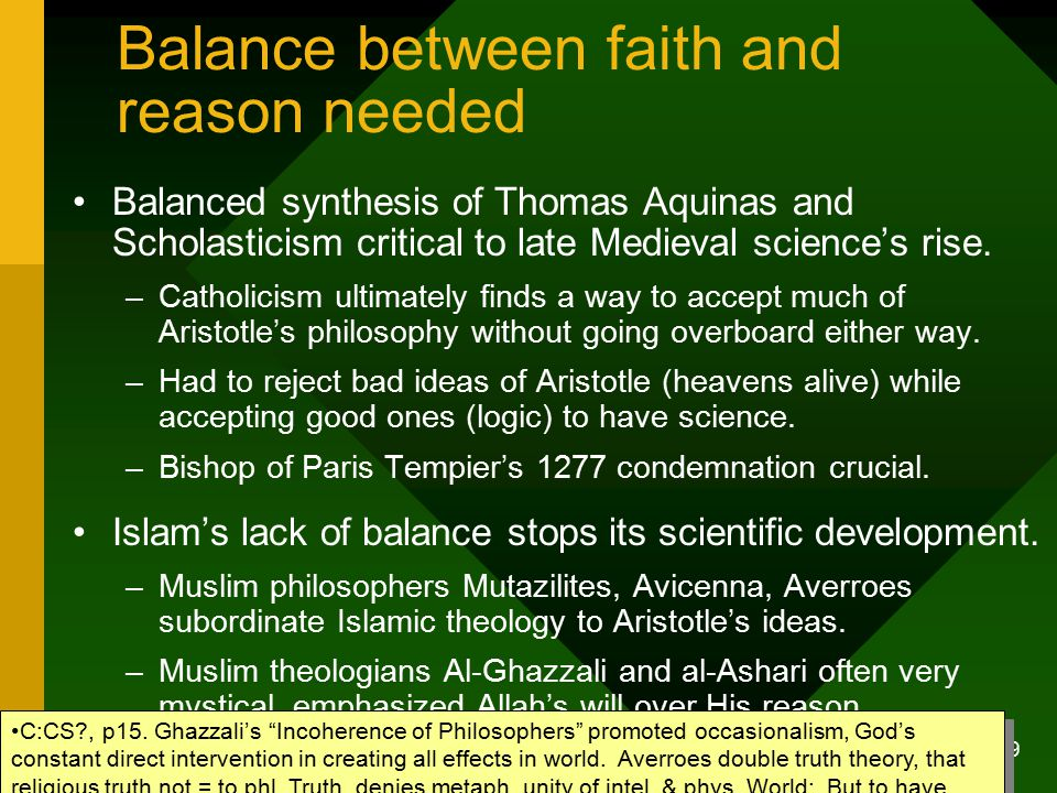 The benefits of science logic and reason in a christian world