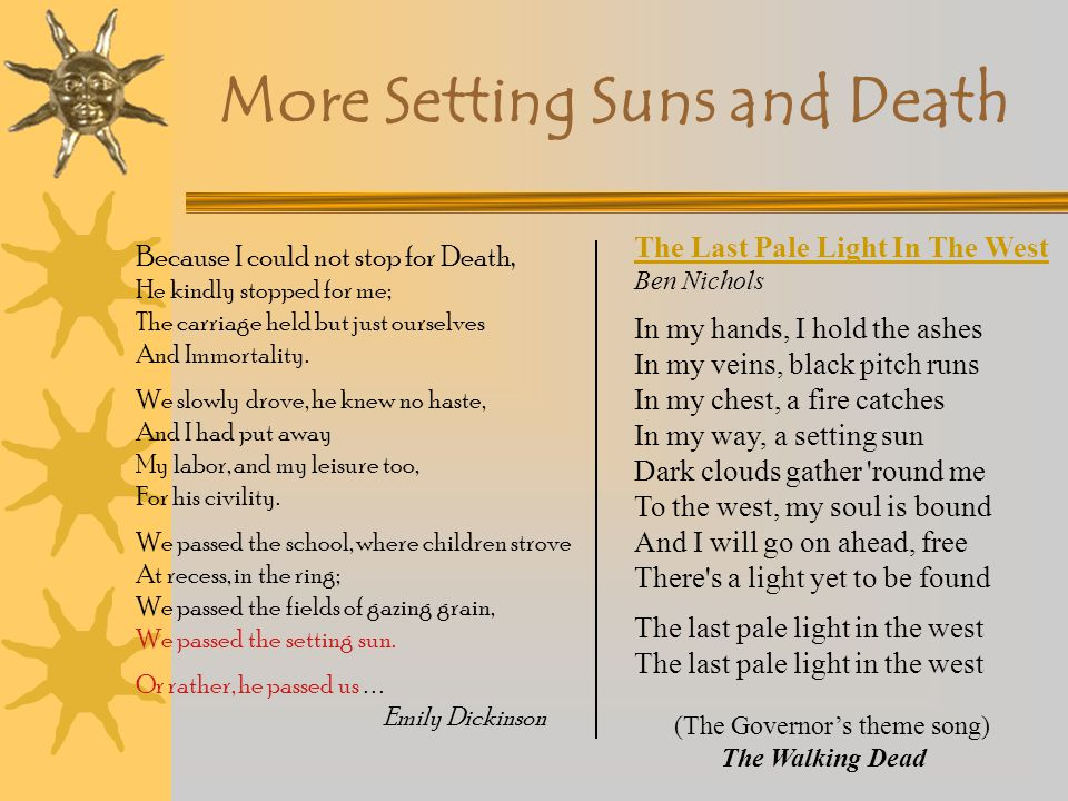 More Setting Suns and Death