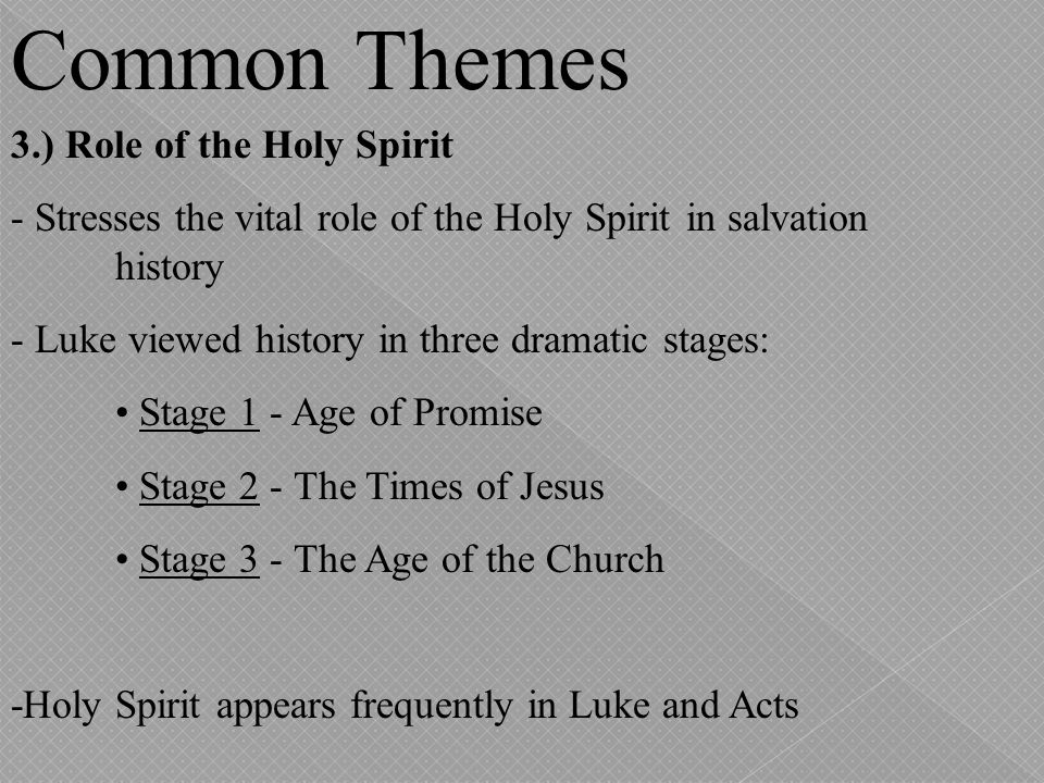Common Themes 3.) Role of the Holy Spirit