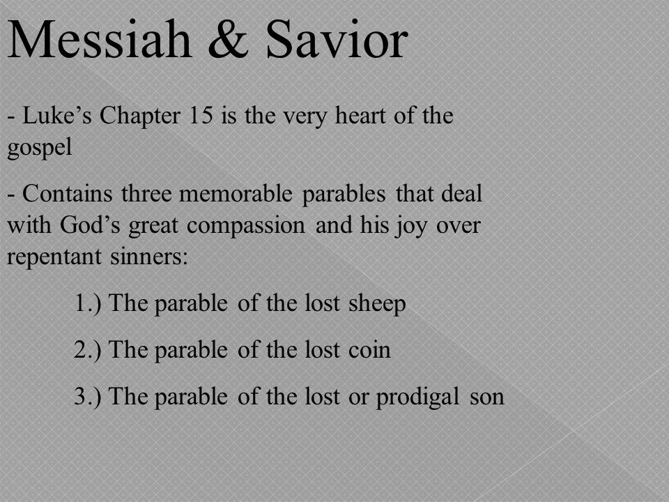 Messiah & Savior - Luke's Chapter 15 is the very heart of the gospel