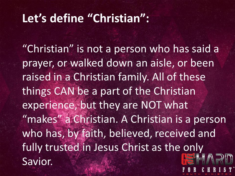 Let's define Christian :