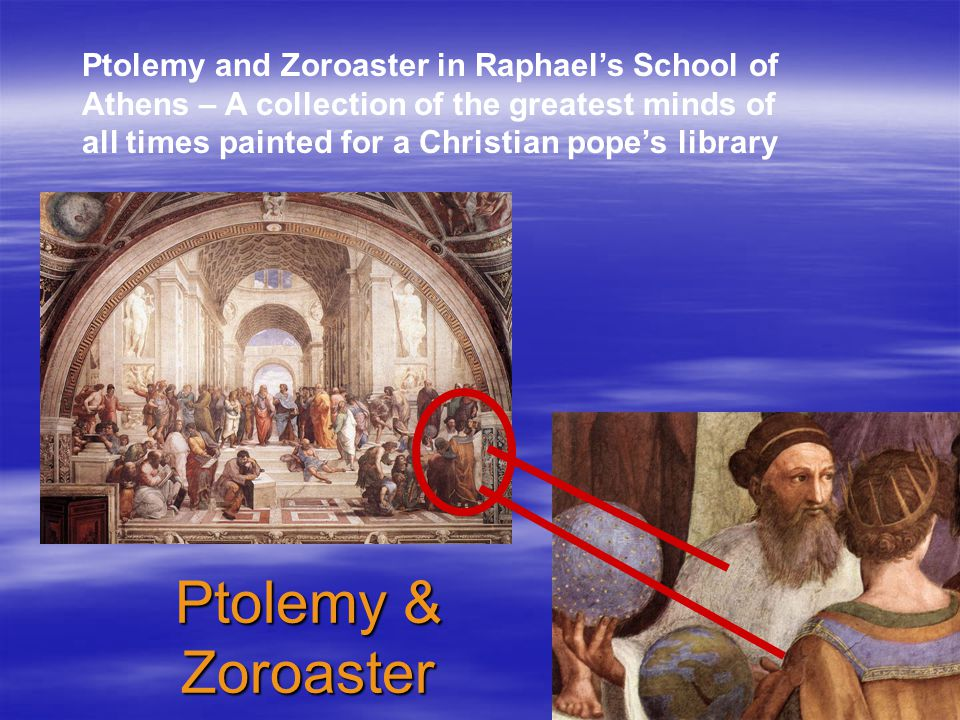 Ptolemy and Zoroaster in Raphael's School of Athens – A collection of the greatest minds of all times painted for a Christian pope's library