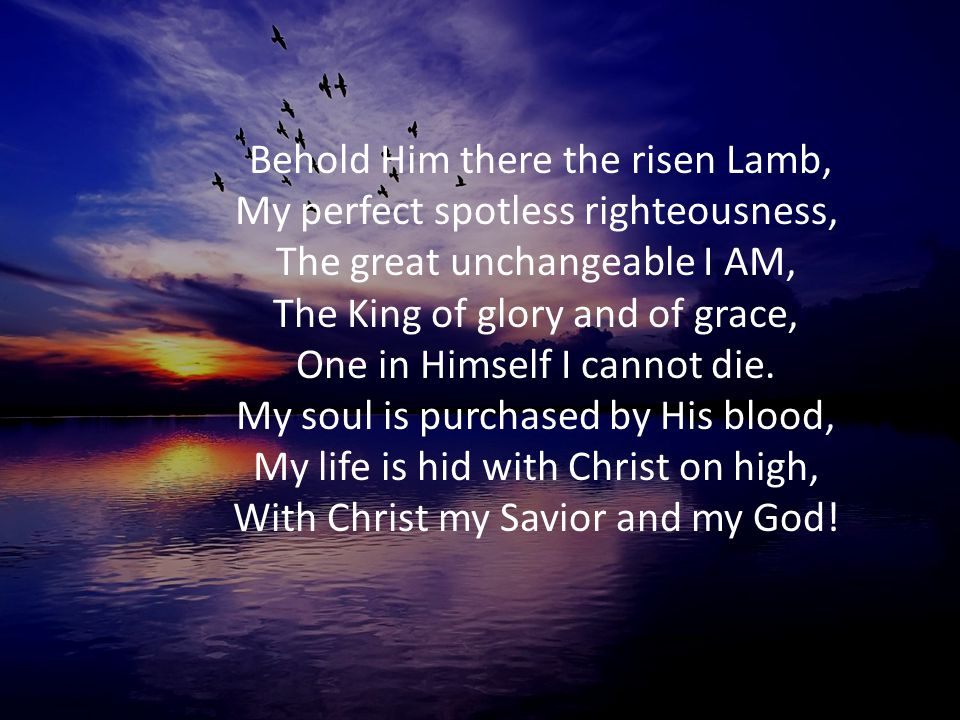 Behold Him there the risen Lamb, My perfect spotless righteousness, The great unchangeable I AM, The King of glory and of grace, One in Himself I cannot die.