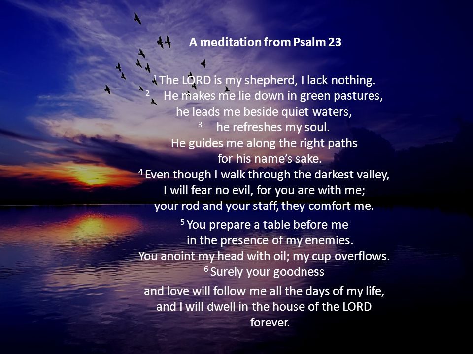 A meditation from Psalm 23