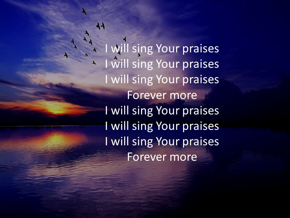 I will sing Your praises I will sing Your praises I will sing Your praises Forever more I will sing Your praises I will sing Your praises I will sing Your praises Forever more