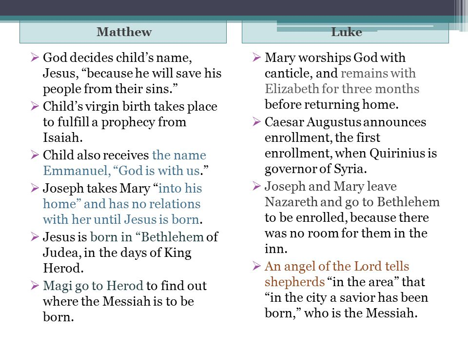 Child's virgin birth takes place to fulfill a prophecy from Isaiah.