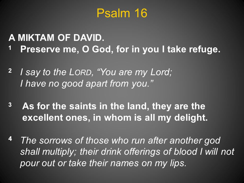Psalm 16 A MIKTAM OF DAVID. 2 I say to the Lord, You are my Lord;