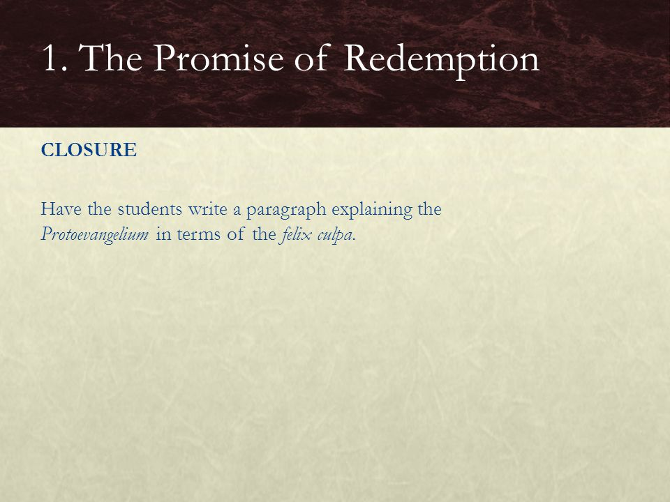 1. The Promise of Redemption