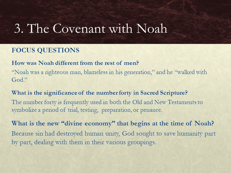 3. The Covenant with Noah FOCUS QUESTIONS