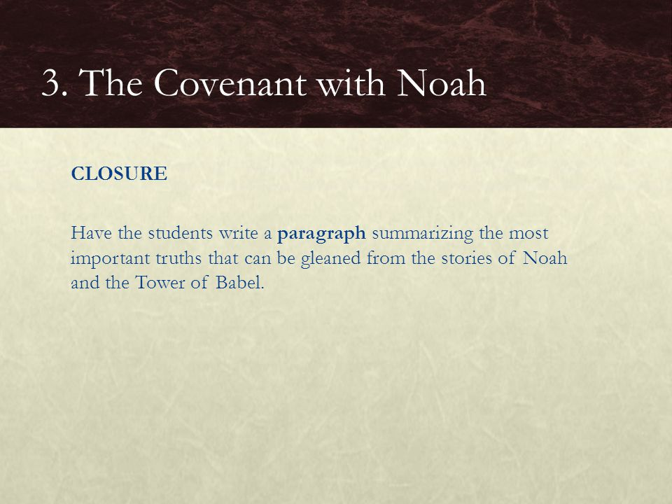 3. The Covenant with Noah