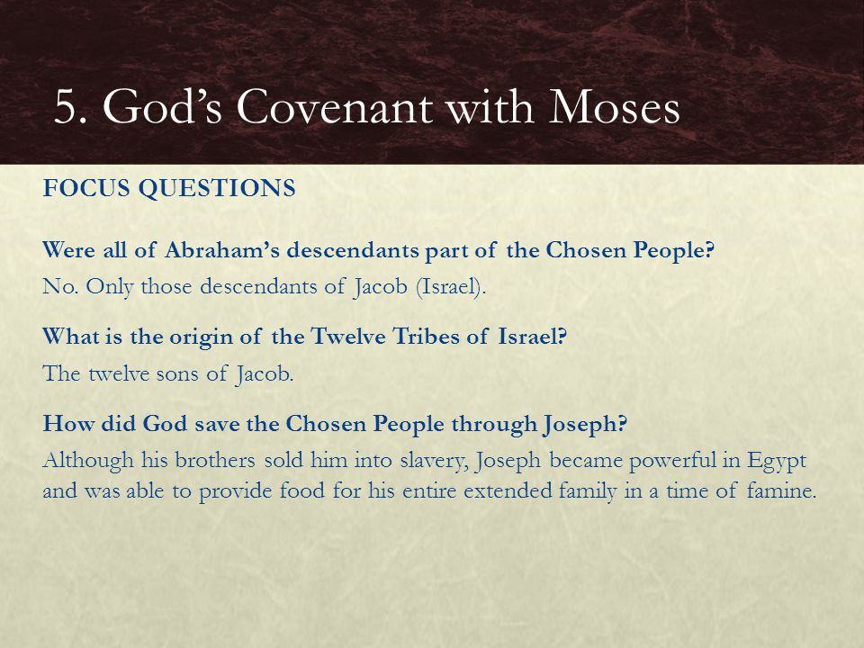 5. God's Covenant with Moses