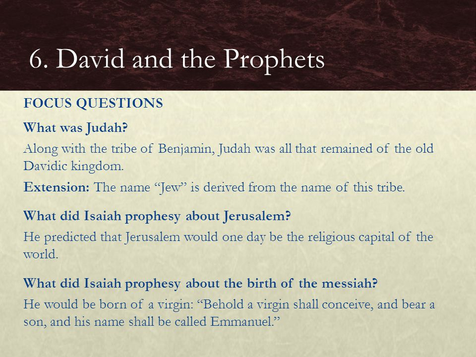 6. David and the Prophets FOCUS QUESTIONS