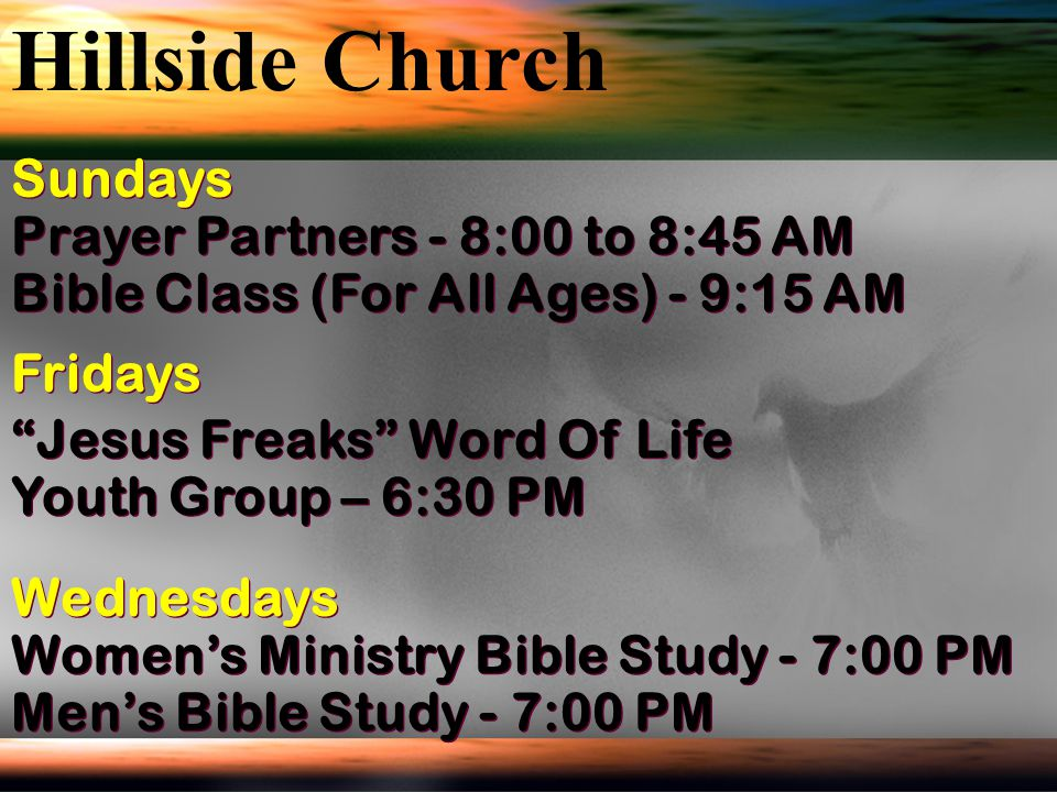 Hillside Church Sundays Prayer Partners - 8:00 to 8:45 AM
