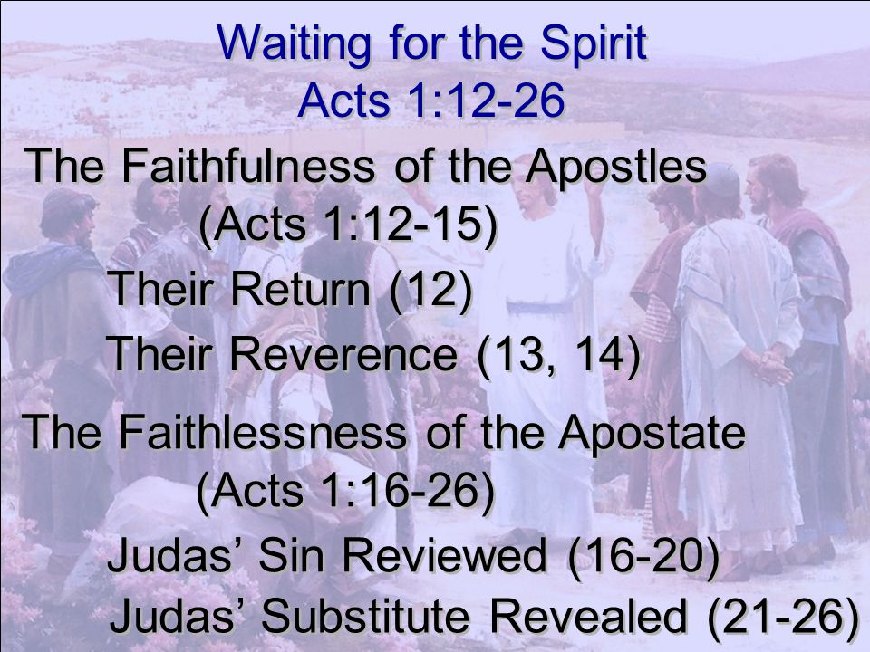 Waiting for the Spirit Acts 1:12-26. The Faithfulness of the Apostles. (Acts 1:12-15) Their Return (12)