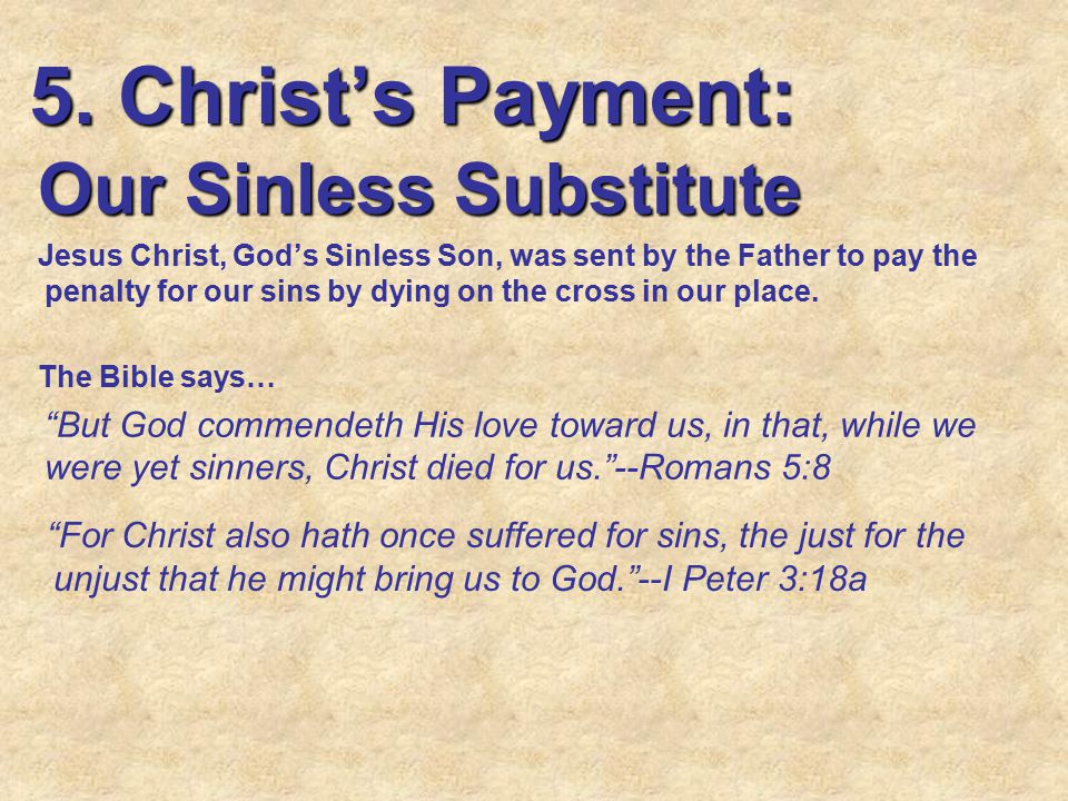 5. Christ's Payment: Our Sinless Substitute