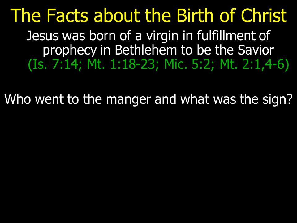 The Facts about the Birth of Christ