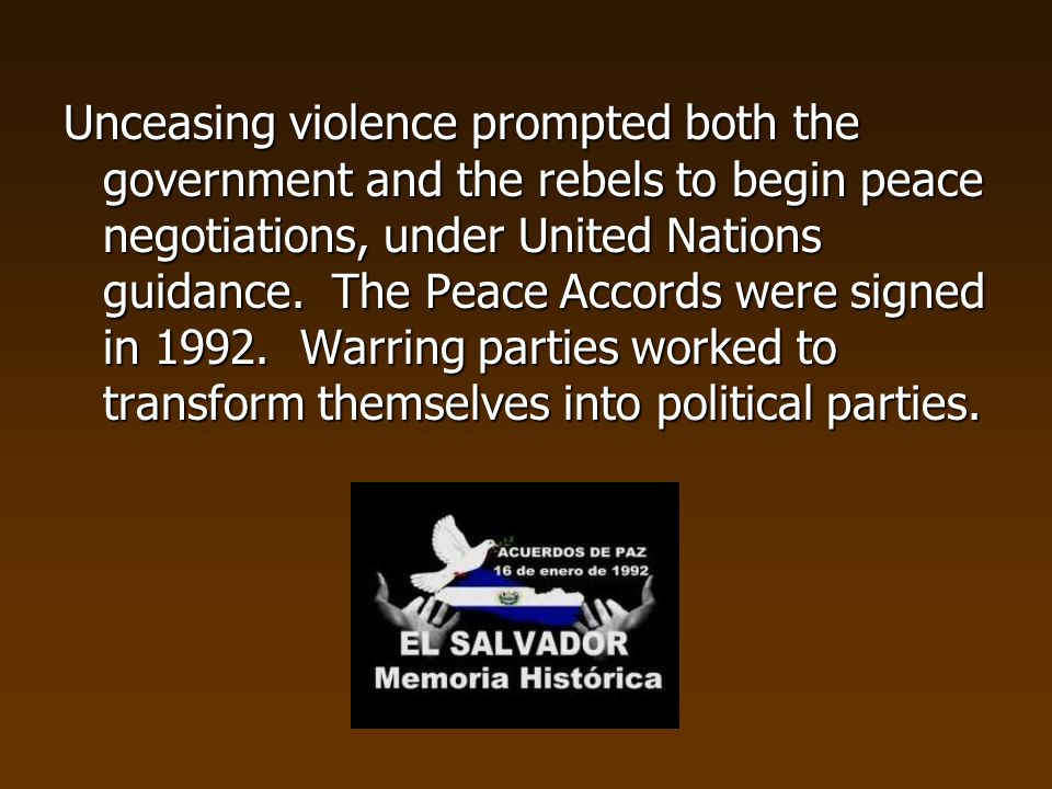 Unceasing violence prompted both the government and the rebels to begin peace negotiations, under United Nations guidance.