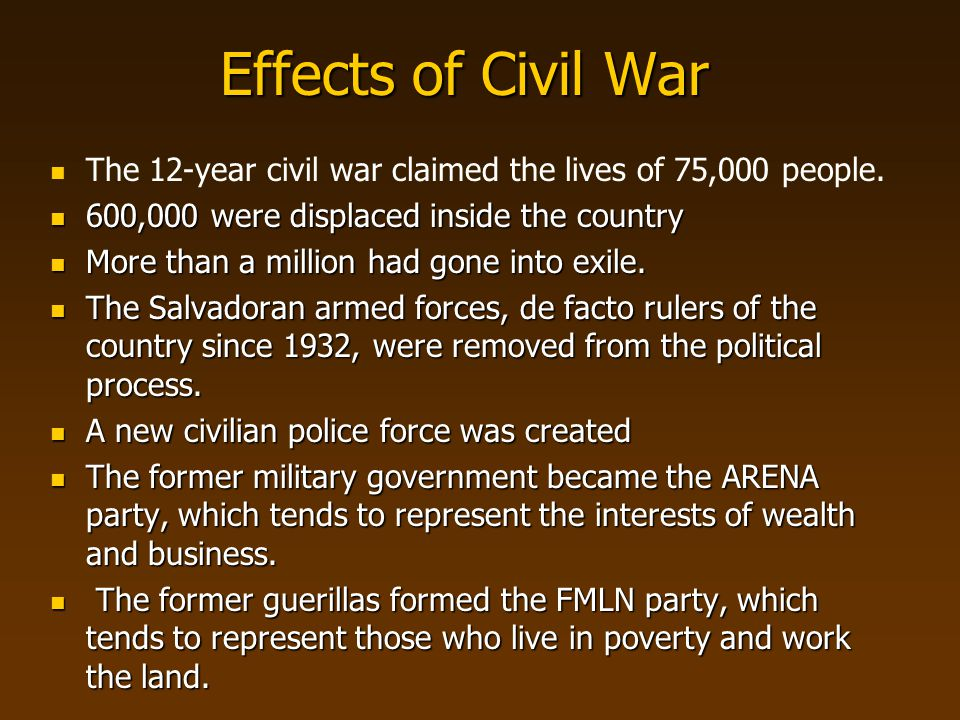 Effects of Civil War The 12-year civil war claimed the lives of 75,000 people. 600,000 were displaced inside the country.