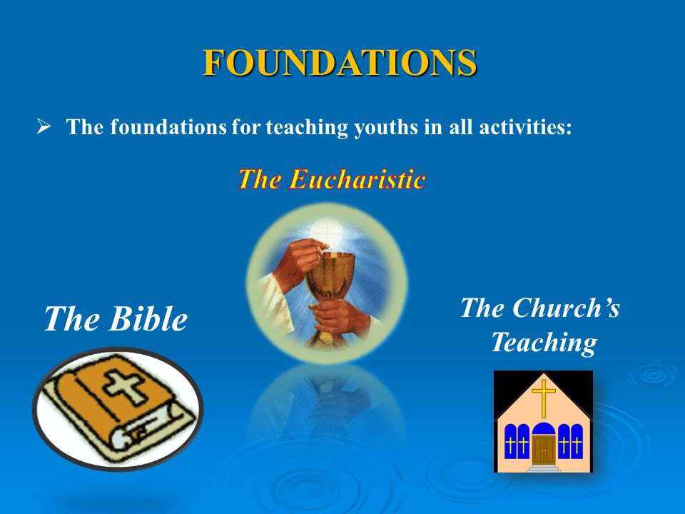 FOUNDATIONS The Bible The Eucharistic The Church's Teaching
