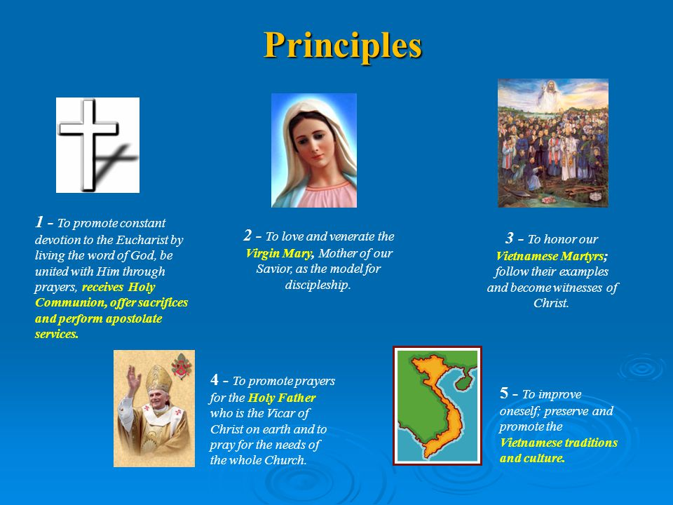Principles 3 - To honor our Vietnamese Martyrs; follow their examples and become witnesses of Christ.