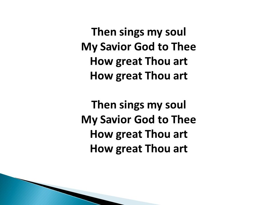 Then sings my soul My Savior God to Thee How great Thou art How great Thou art Then sings my soul My Savior God to Thee How great Thou art How great Thou art