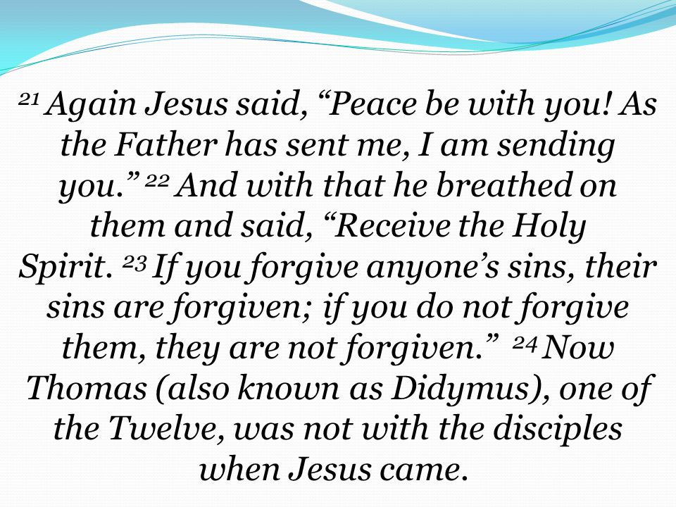 21 Again Jesus said, Peace be with you