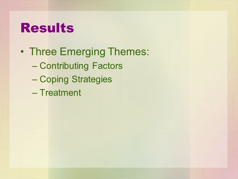 Results Three Emerging Themes: Contributing Factors Coping Strategies