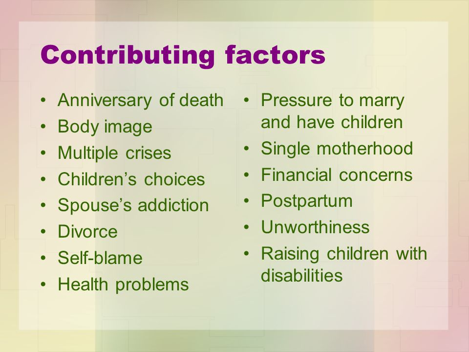 Contributing factors Anniversary of death Body image Multiple crises
