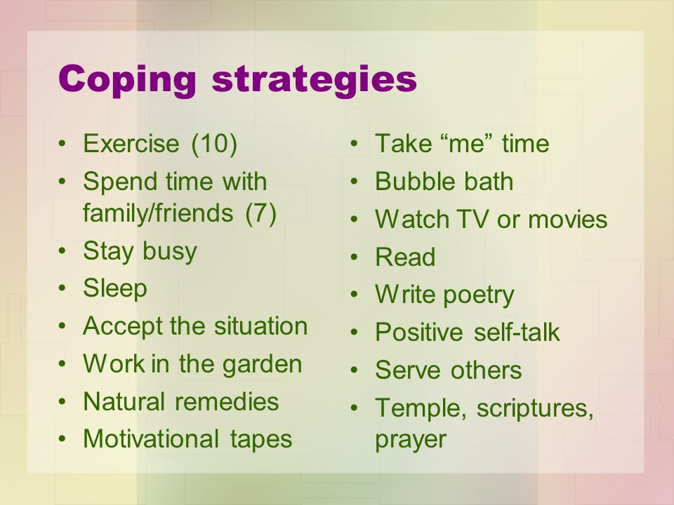 Coping strategies Exercise (10) Spend time with family/friends (7)