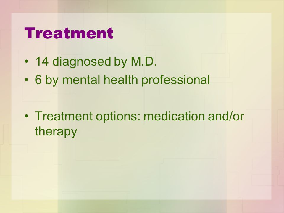 Treatment 14 diagnosed by M.D. 6 by mental health professional