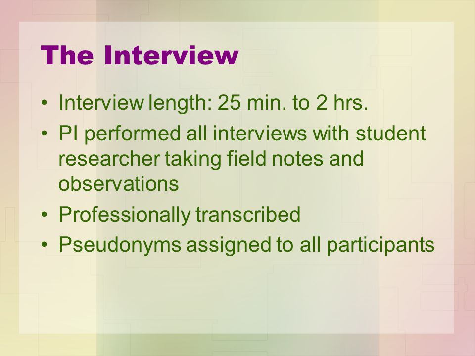 The Interview Interview length: 25 min. to 2 hrs.