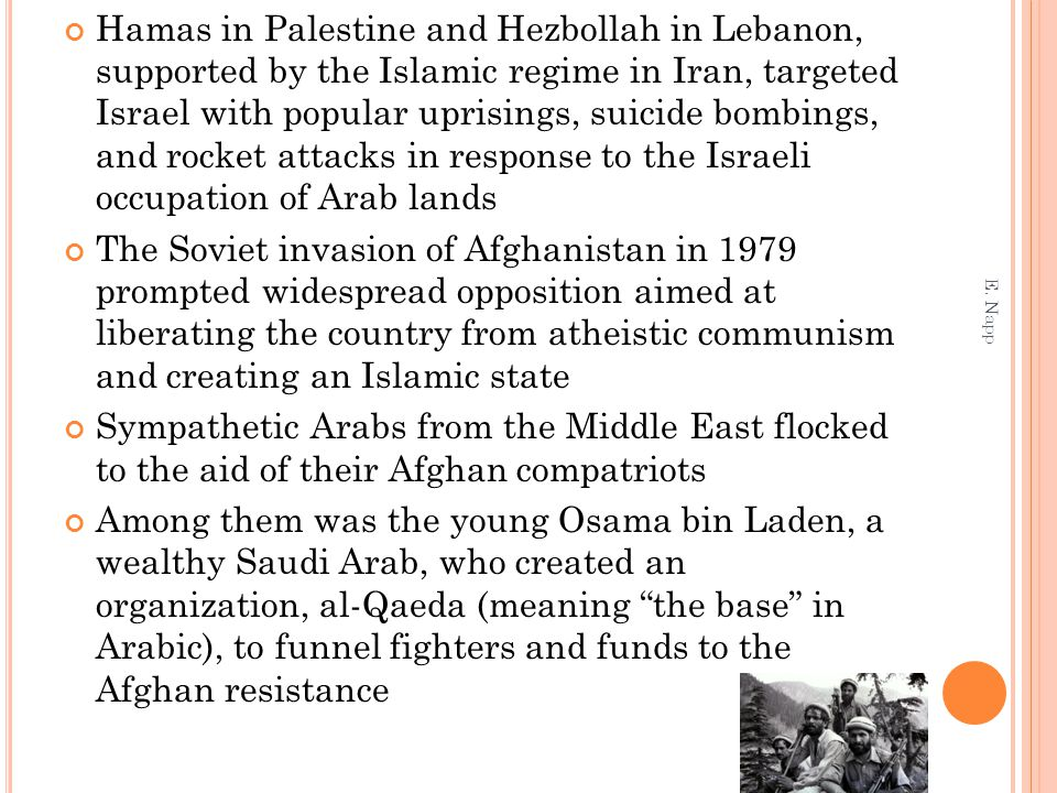 Hamas in Palestine and Hezbollah in Lebanon, supported by the Islamic regime in Iran, targeted Israel with popular uprisings, suicide bombings, and rocket attacks in response to the Israeli occupation of Arab lands