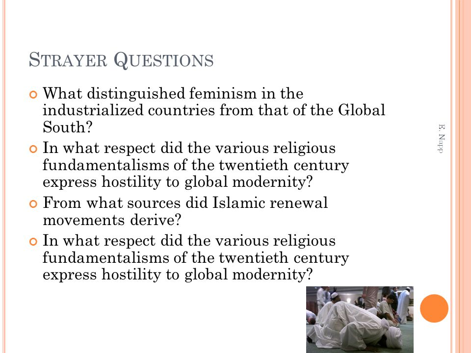 Strayer Questions What distinguished feminism in the industrialized countries from that of the Global South