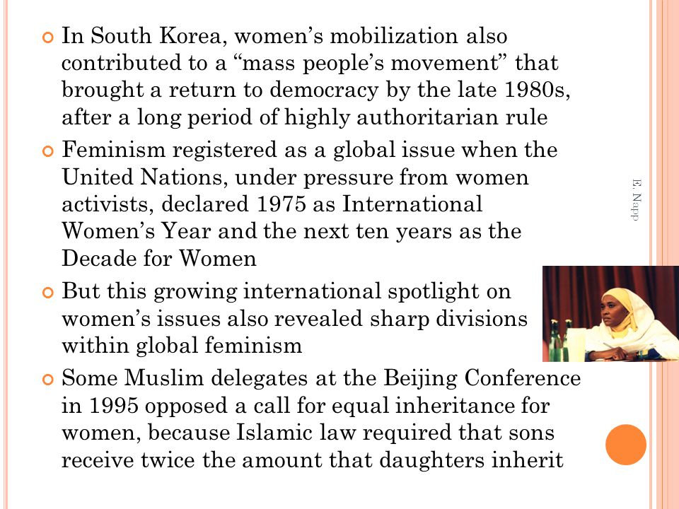 In South Korea, women's mobilization also contributed to a mass people's movement that brought a return to democracy by the late 1980s, after a long period of highly authoritarian rule
