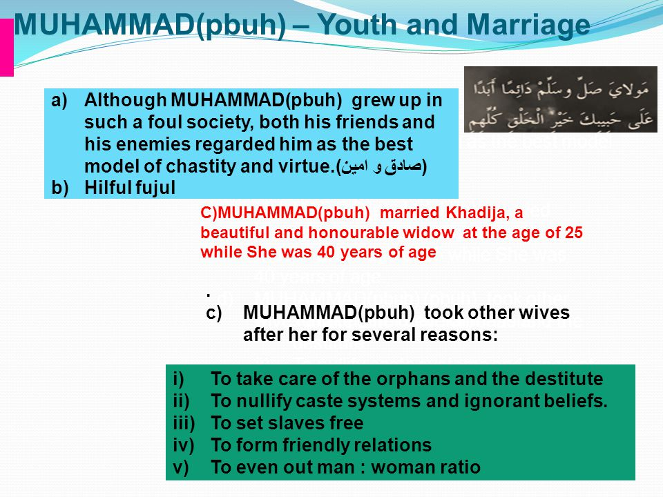 MUHAMMAD(pbuh) – Youth and Marriage