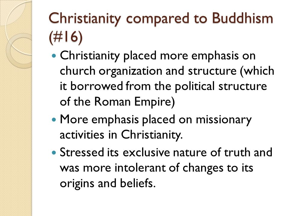 Christianity compared to Buddhism (#16)