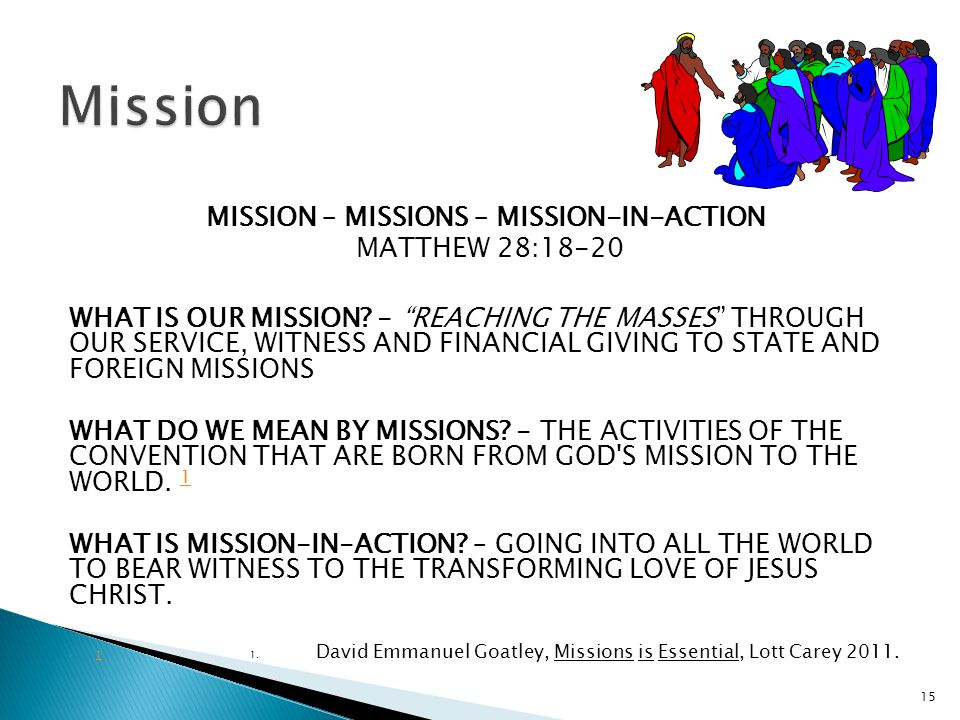 MISSION – MISSIONS – MISSION-IN-ACTION