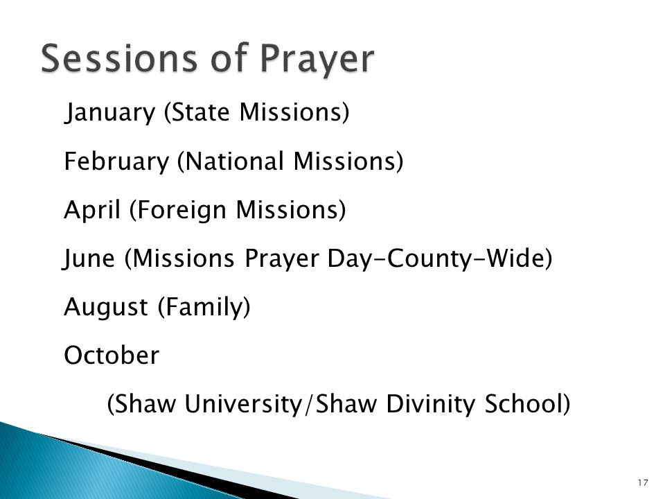 Sessions of Prayer January (State Missions)