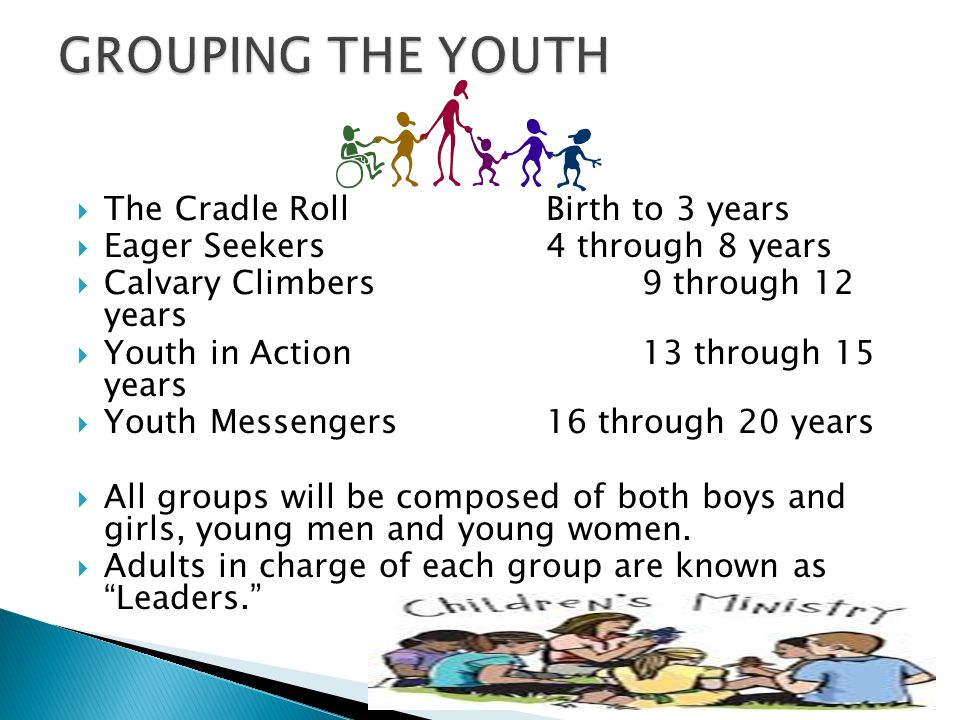 GROUPING THE YOUTH The Cradle Roll Birth to 3 years