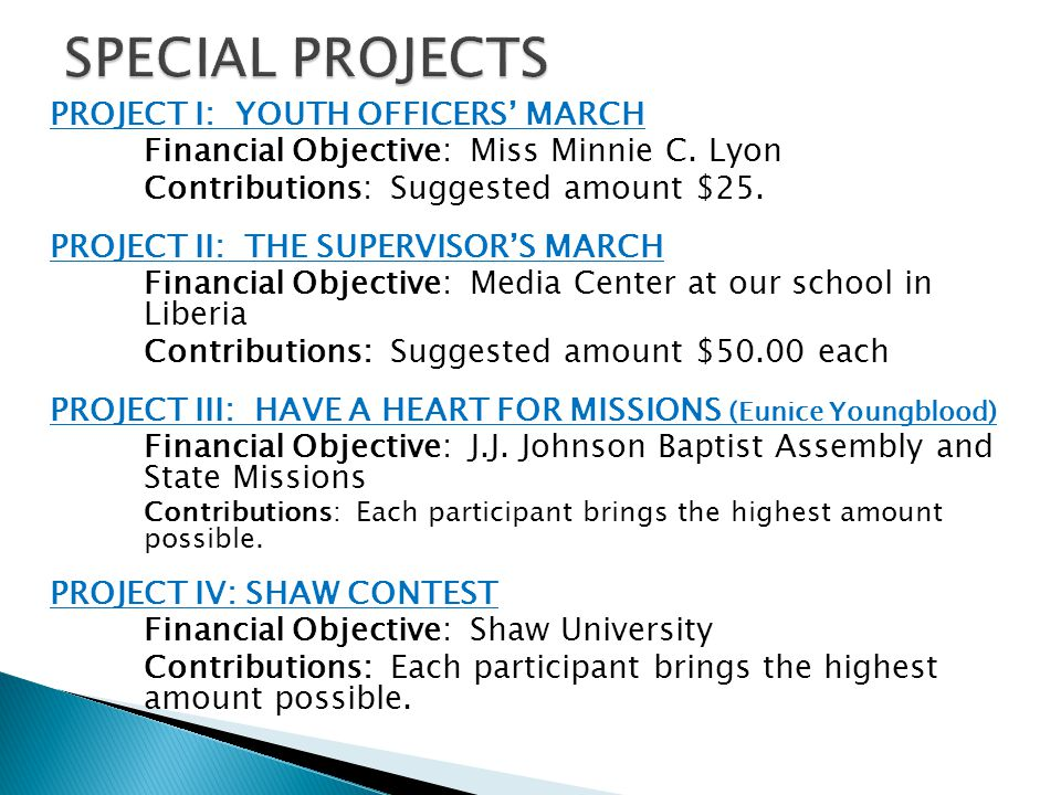 SPECIAL PROJECTS PROJECT I: YOUTH OFFICERS' MARCH